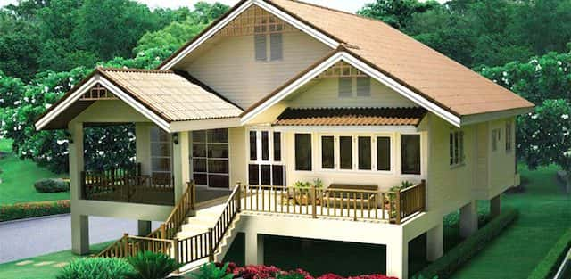 Mẫu nhà thiết kế theo kiểu nhà sàn chống nóng mái thái tuyệt đẹp