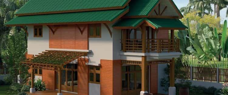 220 mẫu thiết kế ngôi nhà 2 tầng Thái Lan phong cách hiện đại với cổng vòm ban công bằng gỗ bóng mờ