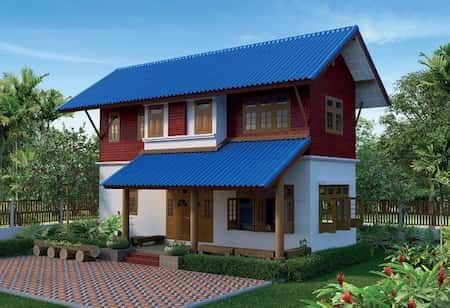 nha mai thai 2 tang su dung cot go 1 - Nhà mái thái 2 tầng với hệ thống cột gỗ đẹp và lạ