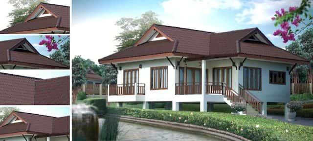 Phối cảnh và mặt bằng ngôi nhà mái thái theo kiểu nhà sàn gỗ