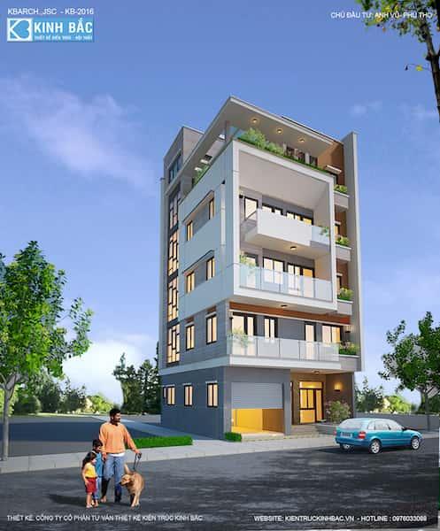 pc1 - Công trình nhà 5 tầng lô góc 2 mặt tiền anh Vũ ở Việt Trì, Phú Thọ.