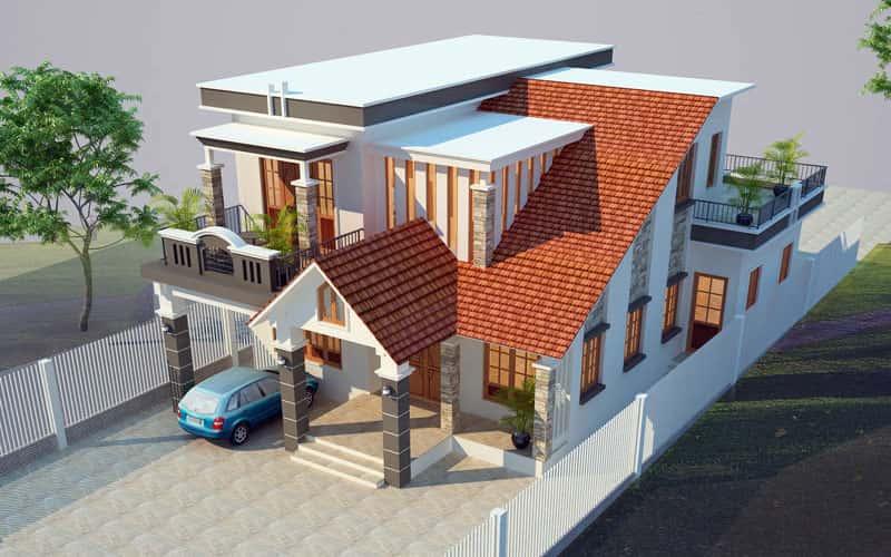 thiet ke biet thu 2 tang dep 03 - 30 Mẫu thiết kế biệt thự với kiến trúc hiện đại đẹp