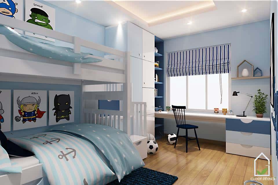 thiet ke noi that phong ngu noi that xanh 010 - Tốp 100 mẫu  thiết kế nội thất phòng  ngủ đẹp nhất 2016