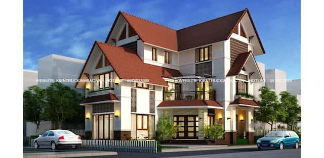 10 Mẫu thiết kế biệt thự 3 tầng mái thái mang phong cách hiện đại đẹp