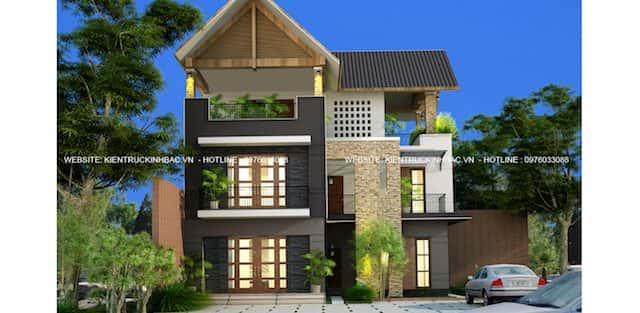 Thiết kế biệt thự 3 tầng hiện đại anh Tuấn ở Sóc Sơn