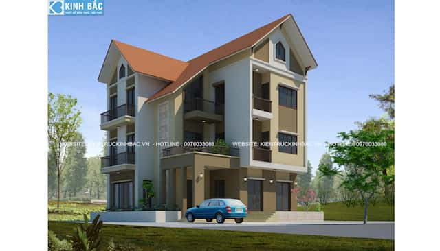 biet thu dep 3 tang phoi canh 1 - 30 Mẫu thiết kế biệt thự với kiến trúc hiện đại đẹp