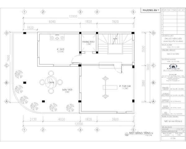 mat bang tang 2 nha 6 tang b - Thiết kế nhà 6 tầng đẹp