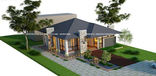 Thiết kế nhà 1 tầng đẹp hiện đại ở Phú Thọ