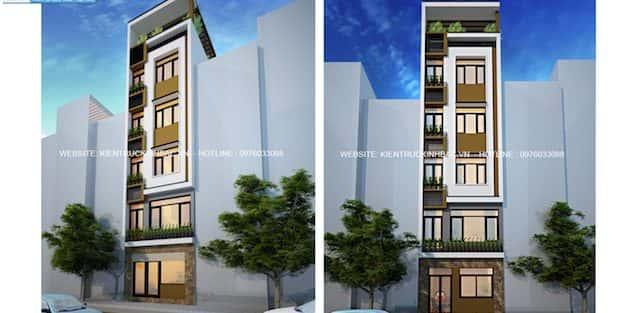 Thiết kế nhà 5 tầng đẹp anh Khải Long Biên