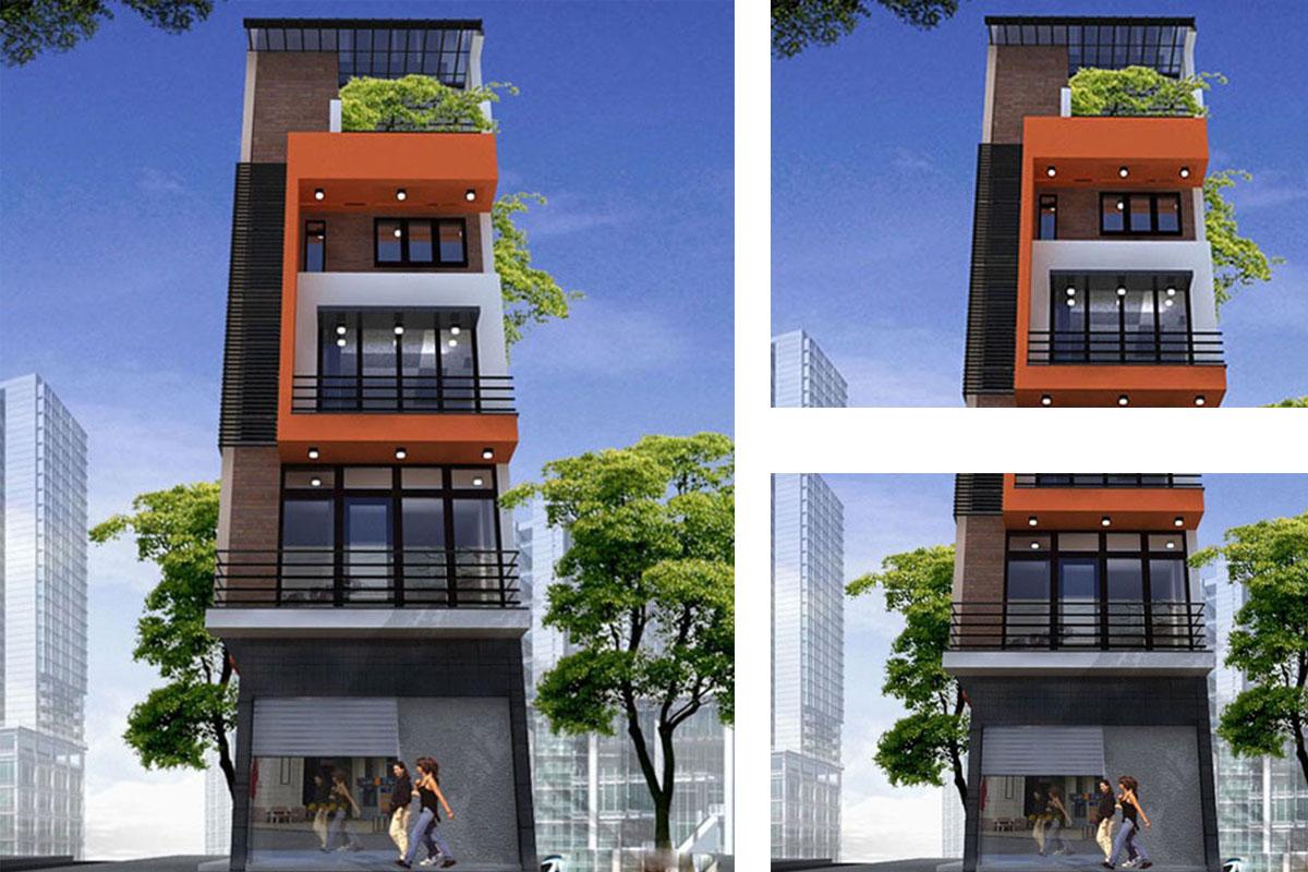 thiết kế nhà 5 tầng mặt tiền 3m - Bản vẽ cad thiết kế nhà phố 3 tầng diện tích 5x8 lệch tầng