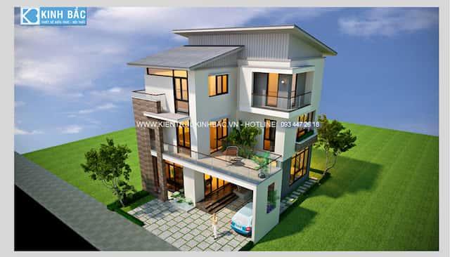 thiet ke biet thu 3 tang tai dong anh ha noi - 30 Mẫu thiết kế biệt thự với kiến trúc hiện đại đẹp