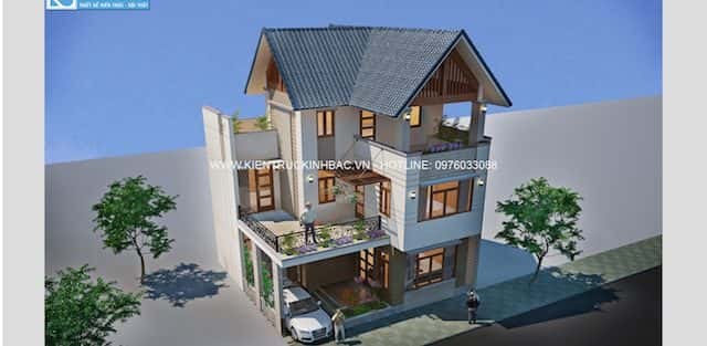 Tư vấn thiết kế nhà 2 tầng diện tích 17 m x 5,5 m
