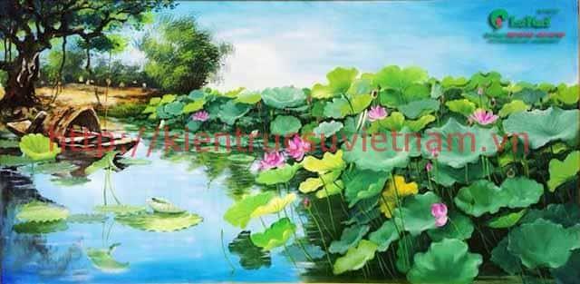 tranh hoa sen 1 - Những bức tranh vẽ hoa sen đẹp nhất