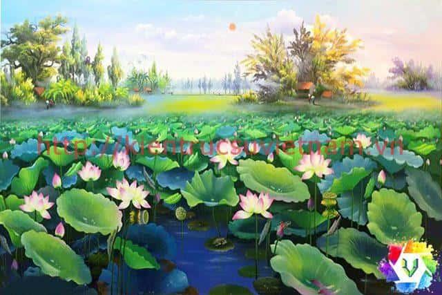 tranh hoa sen 10 - Những bức tranh vẽ hoa sen đẹp nhất