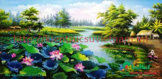 tranh hoa sen 3 - Những bức tranh vẽ hoa sen đẹp nhất