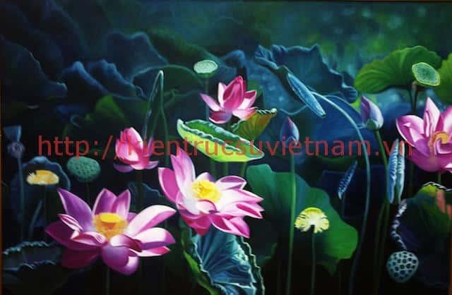 tranh hoa sen 4 - Những bức tranh vẽ hoa sen đẹp nhất