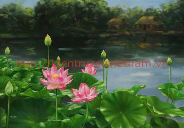tranh hoa sen 6 1 - Vẽ tranh tường phòng khách đẹp