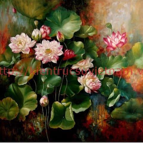 tranh hoa sen - Vẽ tranh tường phòng khách đẹp