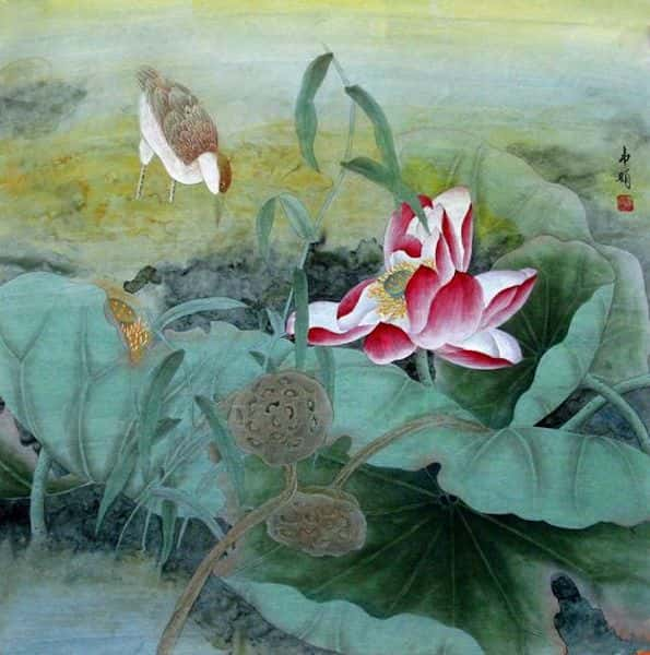 tranh ve hoa sen 10 - Những bức tranh vẽ hoa sen đẹp nhất