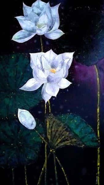 tranh ve hoa sen 6 - Những bức tranh vẽ hoa sen đẹp nhất