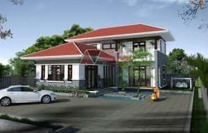 biet thu 2 tang 900 trieu  300x193 - 28 Mẫu thiết kế nhà 2 tầng mái ngói đẹp