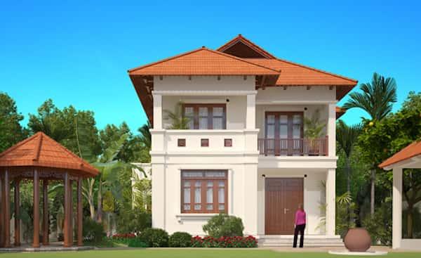biet thu 2 tang chu l dep - Thiết kế biệt thự 2 tầng