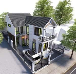biet thu 2 tang dep kinh phi 600 trieu 300x291 - Bản vẽ thiết kế nhà đẹp