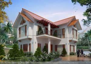 biet thu 2 tang dep kinh phi 600 trieu de 300x213 - Bản vẽ thiết kế nhà đẹp
