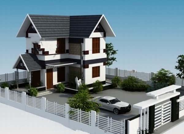 biet thu 2 tang dep kinh phi 700 trieu - Thiết kế biệt thự 2 tầng chữ L đẹp và chuyên nghiệp nhất hiện nay