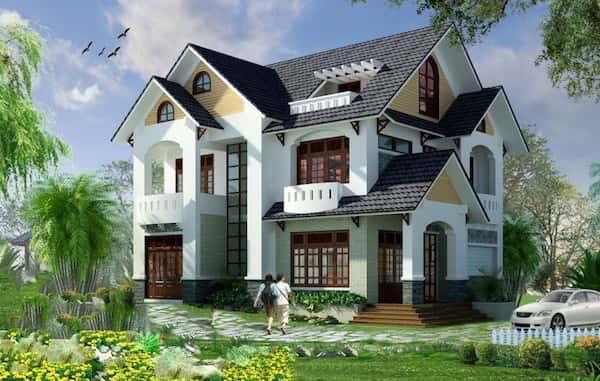 biet thu 2 tang mai thai NDBT2T5 - Tư vấn xây biệt thự vườn 2 tầng
