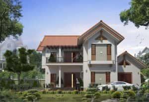 biet thu 2 tang mai thai dep b 300x205 - Bản vẽ thiết kế nhà đẹp