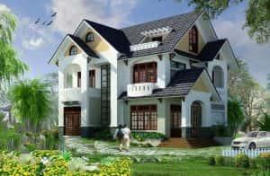 biet thu 2 tang mai thai dep c 300x196 - Bản vẽ thiết kế nhà đẹp