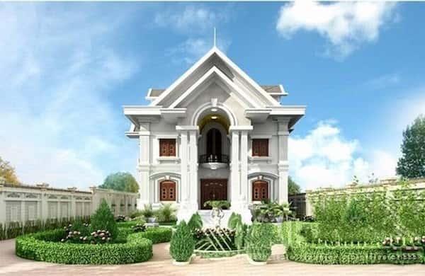 mau biet thu 2 tang kieu phap c - Thiết kế và thi công biệt thự 2 tầng tân cổ điển đẹp và chuyên nghiệp