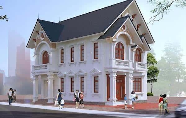 mau biet thu 2 tang kieu phap po - Thiết kế biệt thự 2 tầng kiểu pháp