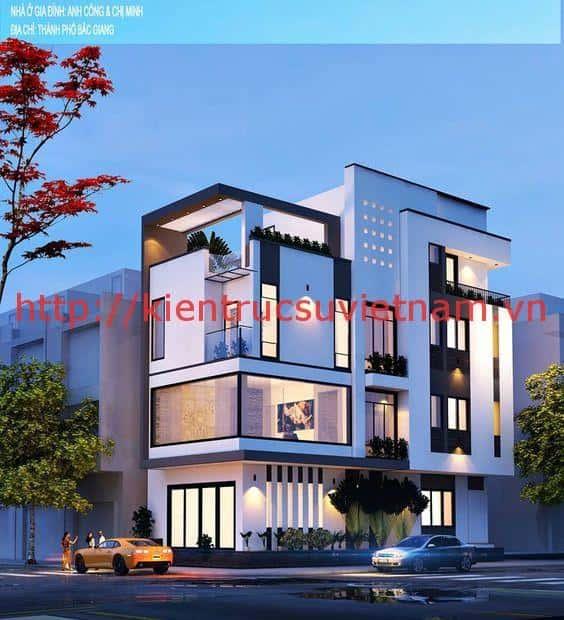 mau thiet ke dep phong cach hien dai 2a - Thiết kế nhà 3.5 tầng cô Loan chú Sơn Đà Nẵng