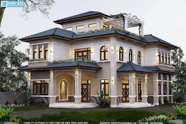 biet thu 3 tang trinh huong phu xuyen ha noi 3 - Thiết kế biệt thự mái thái đẹp