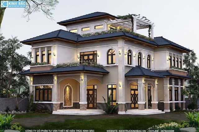 biet thu 3 tang trinh huong phu xuyen ha noi - 90 Mẫu Thiết Kế Biệt Thự Phố 3 Tầng Đẹp Sang Trọng Ấn Tượng