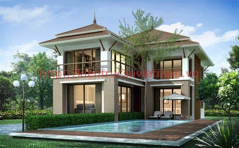 biet thu mai ngoi 3 - 45 Mẫu nhà 2 tầng mái ngói đẹp được nhiều kts lựa chọn thiết kế