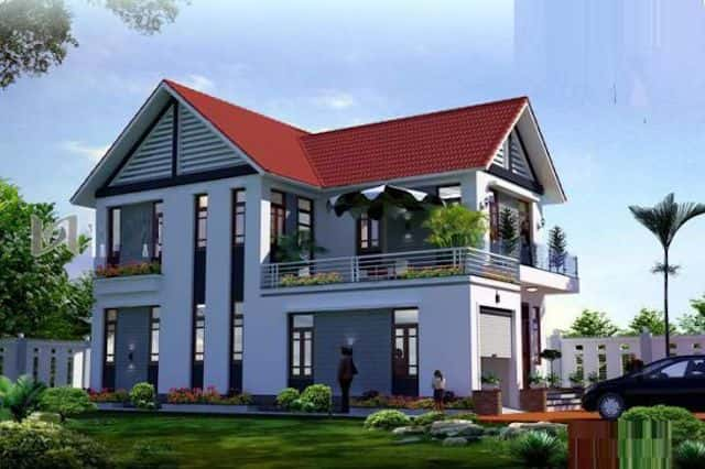 mau nha 2 tang dep 0012 - 25 Mẫu thiết kế nhà mái ngói đẹp được nhiều người ưa thích