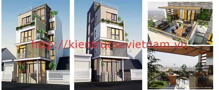 thiet ke nha 4 tang hien dai co thang may o trieu khuc ha noi - Thiết kế nhà 4 tầng đẹp