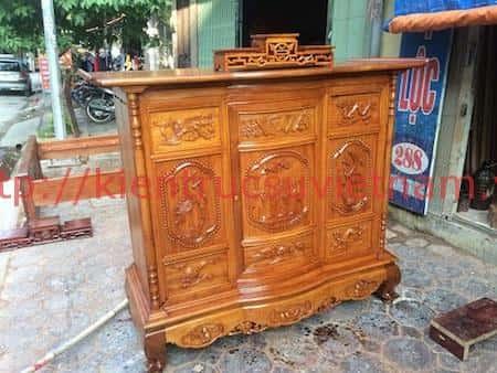 tu tho go mit 3 - 9 Mẫu tủ thờ gỗ mít đẹp với nhiều hoa văn tinh xảo