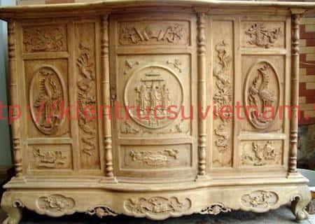 tu tho go mit 7 - 9 Mẫu tủ thờ gỗ mít đẹp với nhiều hoa văn tinh xảo