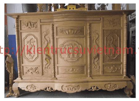 tu tho go mit - 9 Mẫu tủ thờ gỗ mít đẹp với nhiều hoa văn tinh xảo