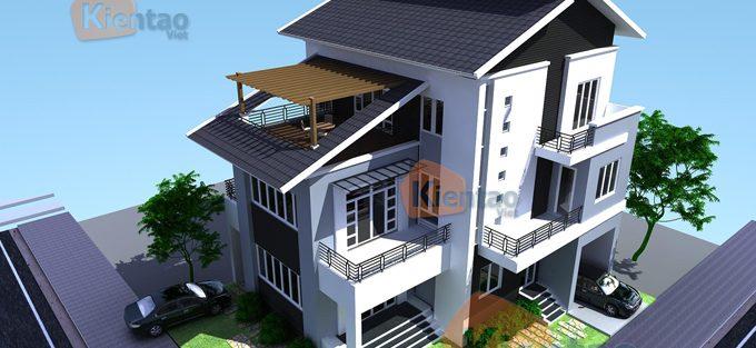 Tư vấn thiết kế biệt thự 3 tầng mái lệch
