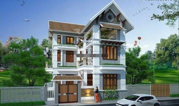 biệt thự 3 tầng mái thái đẹp e1534232049309 - Công trình biệt thự 3 tầng  tân cổ điển kiến trúc mái thái 130m2
