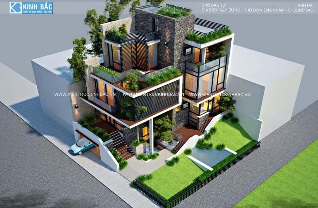 biet thu 3 tang hien dai vieng chan lao 5 1024x670 - 30 Mẫu thiết kế biệt thự với kiến trúc hiện đại đẹp