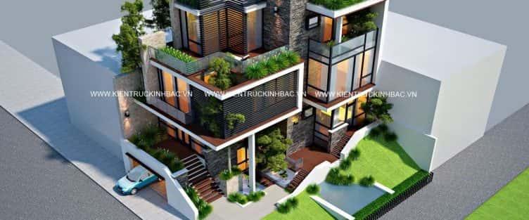 Thiết kế Biệt thự 3 tầng hiện đại ở thủ đo Viêng Chăn – Lào