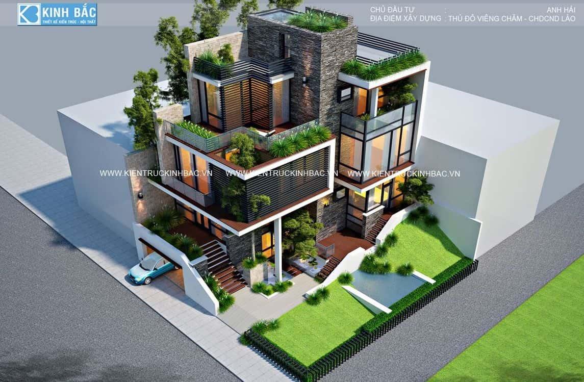 biet thu 3 tang hien dai vieng chan lao 5 - Các dự án thiết kế nhà biệt thự có tầng hầm đẹp đã thực hiện