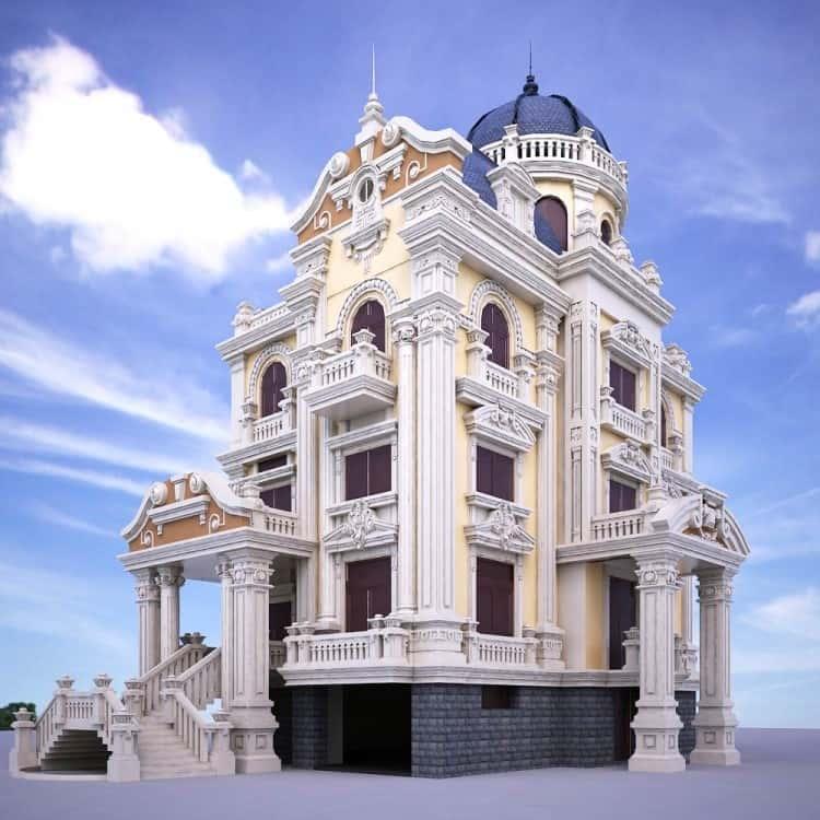 biet thu 4 tang 2 - Thiết kế biệt thự cổ điển đẹp