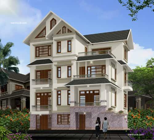 biet thu 4 tang 3 - Công trình biệt thự 3 tầng  tân cổ điển kiến trúc mái thái 130m2
